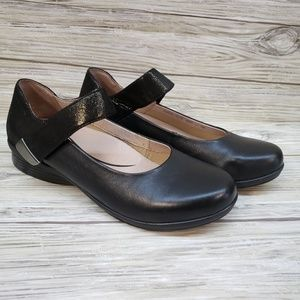 Dansko Black Glitter Leather Mary Jane Shoes